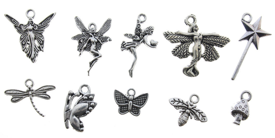 AVBeads Mixed Charms Fairy Charms Silver Metal 3312 10pcs
