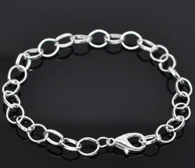 AVBeads Silver Plated Lobster Clasp Chain Link Bracelets 7-7/8