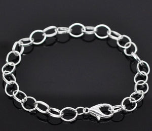 "AVBeads Silver Plated Lobster Clasp Chain Link Bracelets 7-7/8"" (20cm) 12pcs"