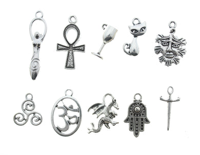 AVBeads Mixed Charms Wicca Charms Silver Metal 4201 10pcs