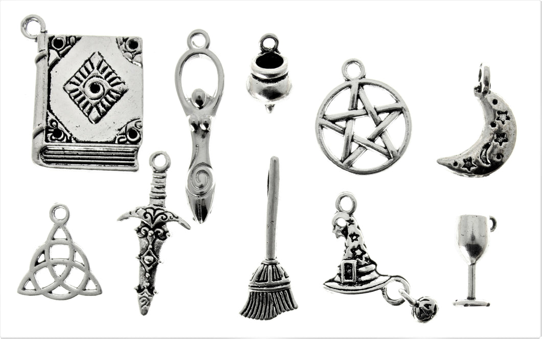 AVBeads Mixed Charms Wicca Charms Silver Metal 4232 10pcs