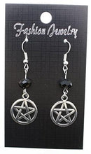Load image into Gallery viewer, AVBeads Jewelry Charm Earrings Dangle Silver Hook Beaded Black Pentacle