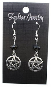 AVBeads Jewelry Charm Earrings Dangle Silver Hook Beaded Black Pentacle