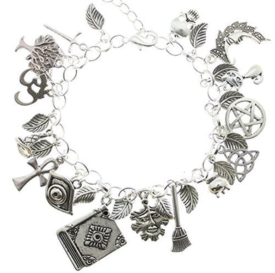 AVBeads Jewelry Pagan Wiccan Charm Bracelet 1609 30 Charms on Silver Plated Chain Bracelet