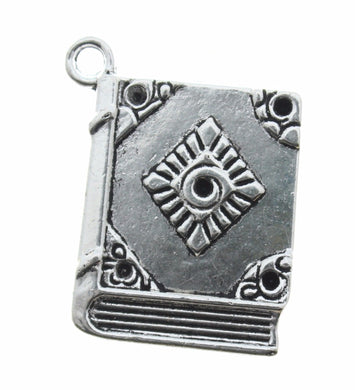 AVBeads Spell Book Charms 26x22mm Silver CHM29524