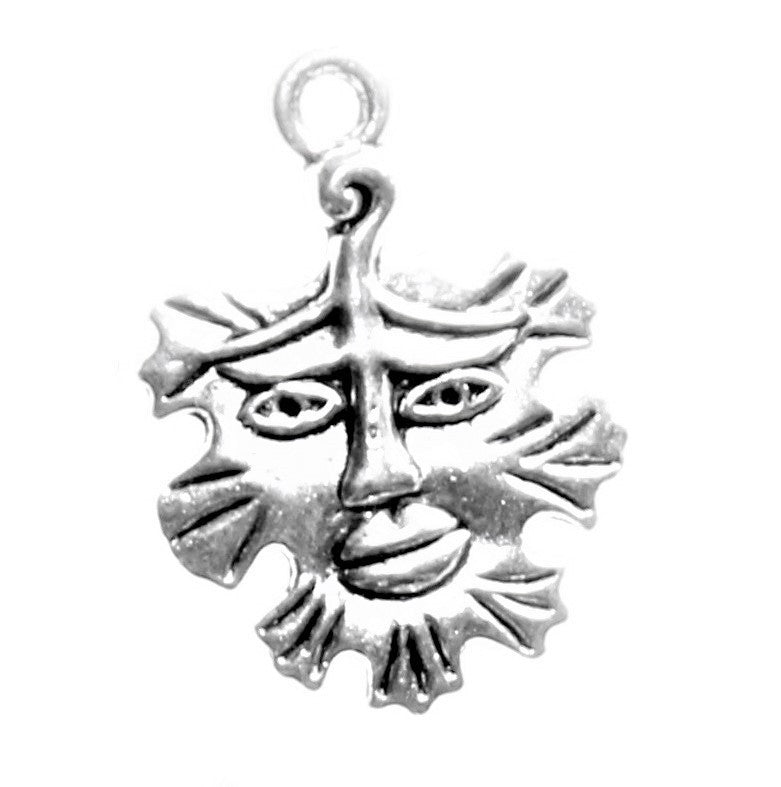 AVBeads Celtic Charms Greenman Charms Silver 21mm x 15mm Metal Charms 4pcs