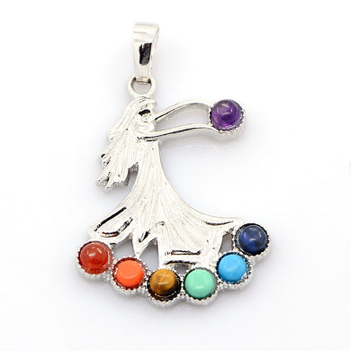 AVBeads Multi Gemstone Pendant Goddess Pendant Chakra Pendant with Silver Plated Bail