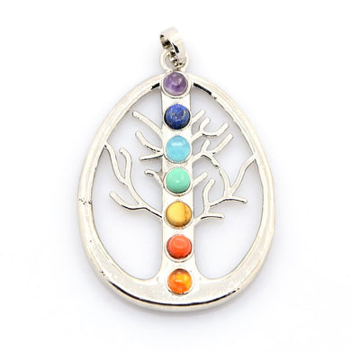 AVBeads Multi Gemstone Pendant Tree of Life Pendant Chakra Pendant with Silver Plated Bail