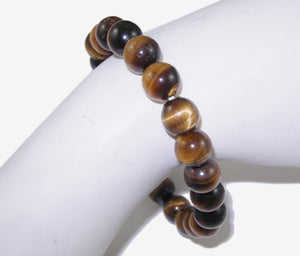 Beaded Bracelet Gemstone Bracelet Tigers Eye Stretchy Bracelet