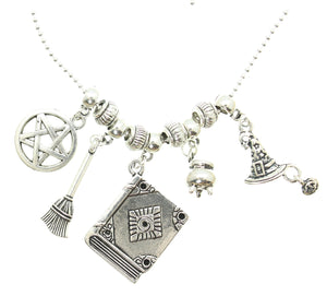 "AVBeads Jewelry Wicca Beads and Charms on 20"" Silver Plated Chain Necklace Spell Casting"