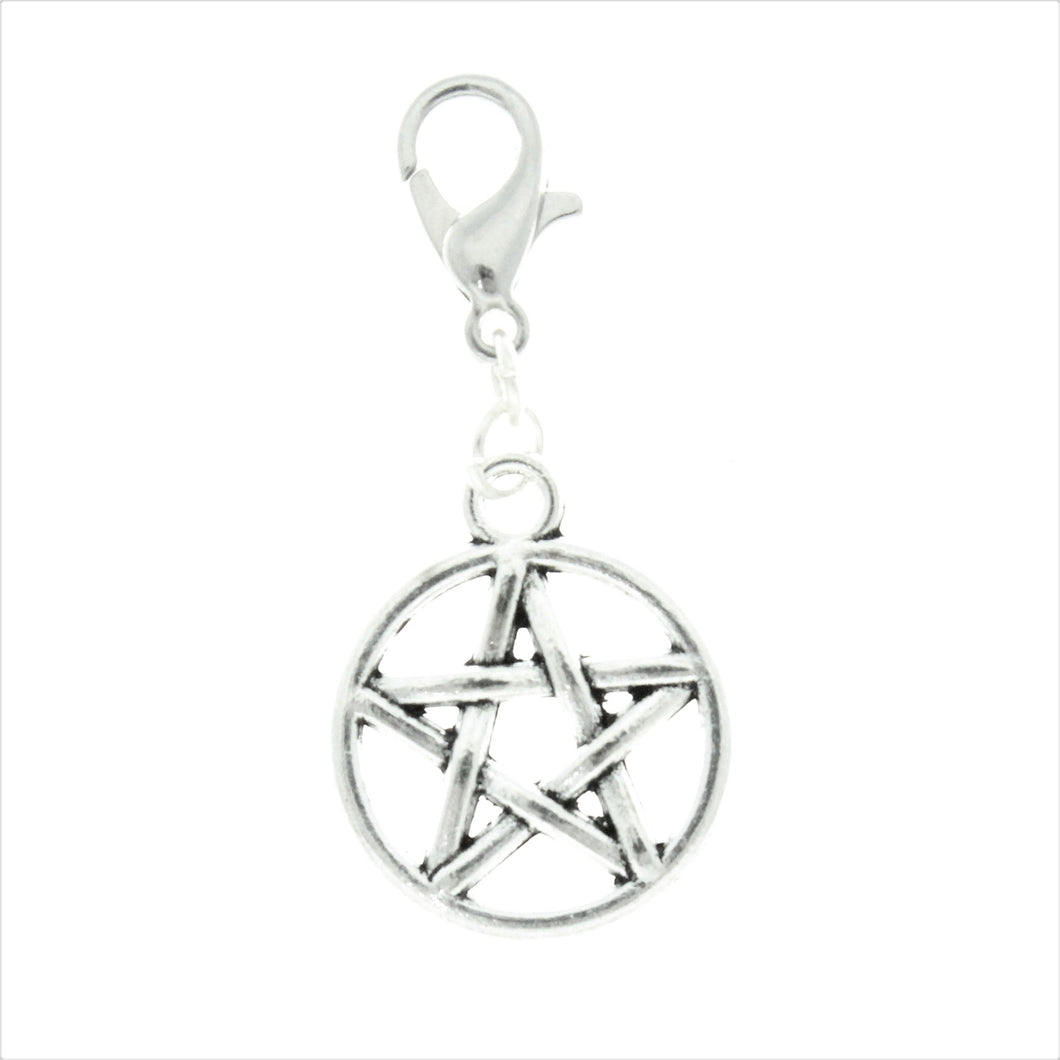 AVBeads Clip-On Charms Pentacle Charm 35mm x 16mm Silver JWLCC07776