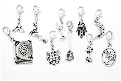 AVBeads Clip-On Charms Mixed Wicca Silver JWL-CC-WMM102 10pcs