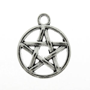 AVBeads Pagan Wicca Charms Pentacle Charms Silver 20mm x 17mm Metal Charms 10pcs