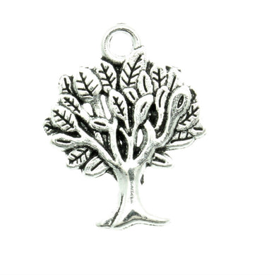 AVBeads Nature Tree Charms Silver 22mm x 17mm Metal Charms 10pcs