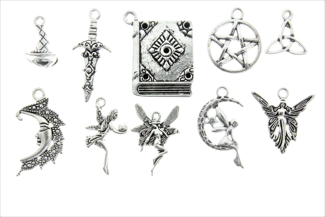 AVBeads Mixed Charms Wicca Charms Silver Metal 1888 10pcs