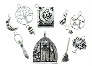AVBeads Mixed Charms Wicca Charms Silver Metal 2165 10pcs
