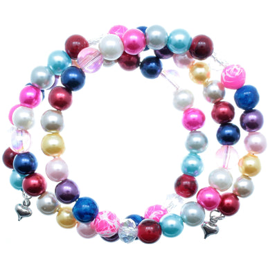 AVBeads Beaded Wrap Metal Charms Bracelet Multi Color 3 Layer 70 8mm Beads Hearts