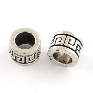 Greek Key Large Metal Column Beads 9mm x 7mm Hole 6mm 10pcs