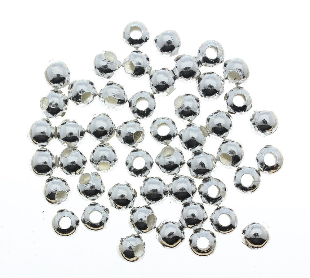 Round Metal Silver Plated Alloy Spacer Loose Beads for Jewelry Making 6mm 10pcs