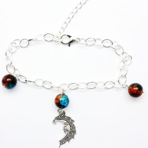 "AVBeads Charm Bracelet Moon Charm Blue and Orange Crackle Beads 10"" JWL-CBBBO-P5567"
