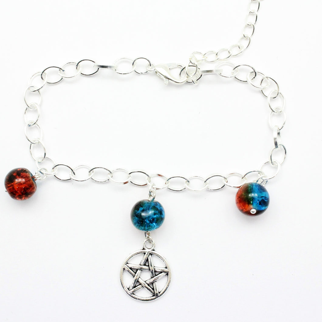 AVBeads Charm Bracelet Pentacle Charm Blue and Orange Crackle Beads 10