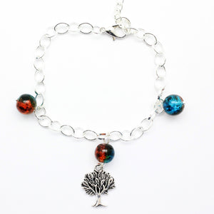 "AVBeads Charm Bracelet Tree Charm Blue and Orange Crackle Beads 10"" JWL-CBBBO-05574"