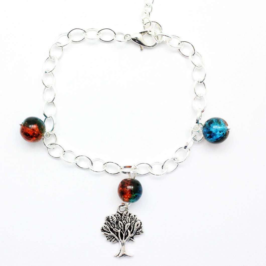 AVBeads Charm Bracelet Tree Charm Blue and Orange Crackle Beads 10
