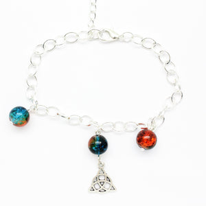 "AVBeads Charm Bracelet Triquetra Charm Blue and Orange Crackle Beads 10"" JWL-CBBBO-22106"