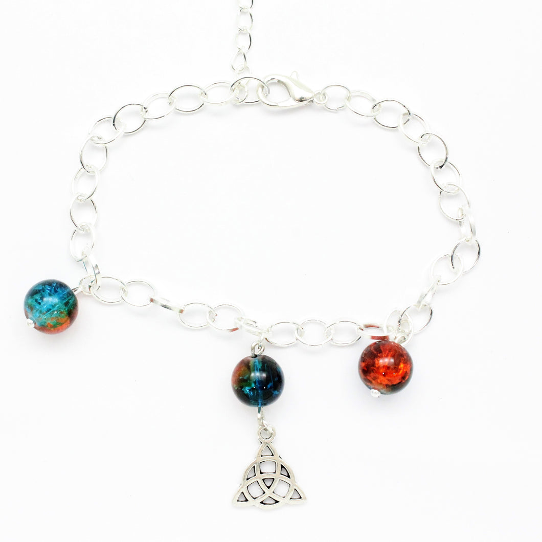 AVBeads Charm Bracelet Triquetra Charm Blue and Orange Crackle Beads 10