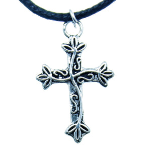 "AVBeads Choker Necklace 18"" Black Cord with Silver Cross Charm Pendant 1002"