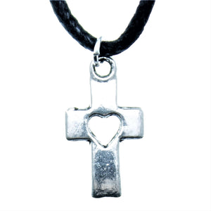 "AVBeads Choker Necklace 18"" Black Cord with Silver Cross Heart Charm Pendant 1004"