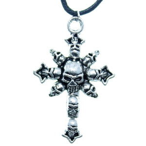 "AVBeads Choker Necklace 18"" Black Cord with Silver Skull Cross Charm Pendant"