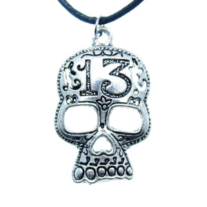 "AVBeads Choker Necklace 18"" Black Cord with Silver Skull Charm Pendant"