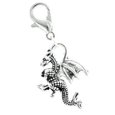 AVBeads Clip-On Charms Dragon Charm 30mm x 15mm Silver JWLCC15107