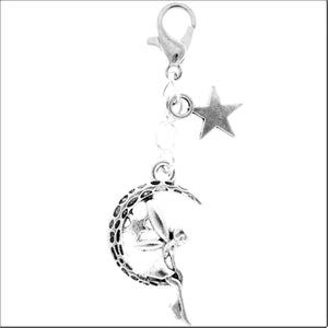 AVBeads Clip-On Charms Moon Fairy and Star Charm 50mm x 12mm Silver JWLCC03284-21615