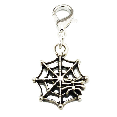 AVBeads Clip-On Charms Spider Web Charm Antique Silver Metal Pagan Charm Clip