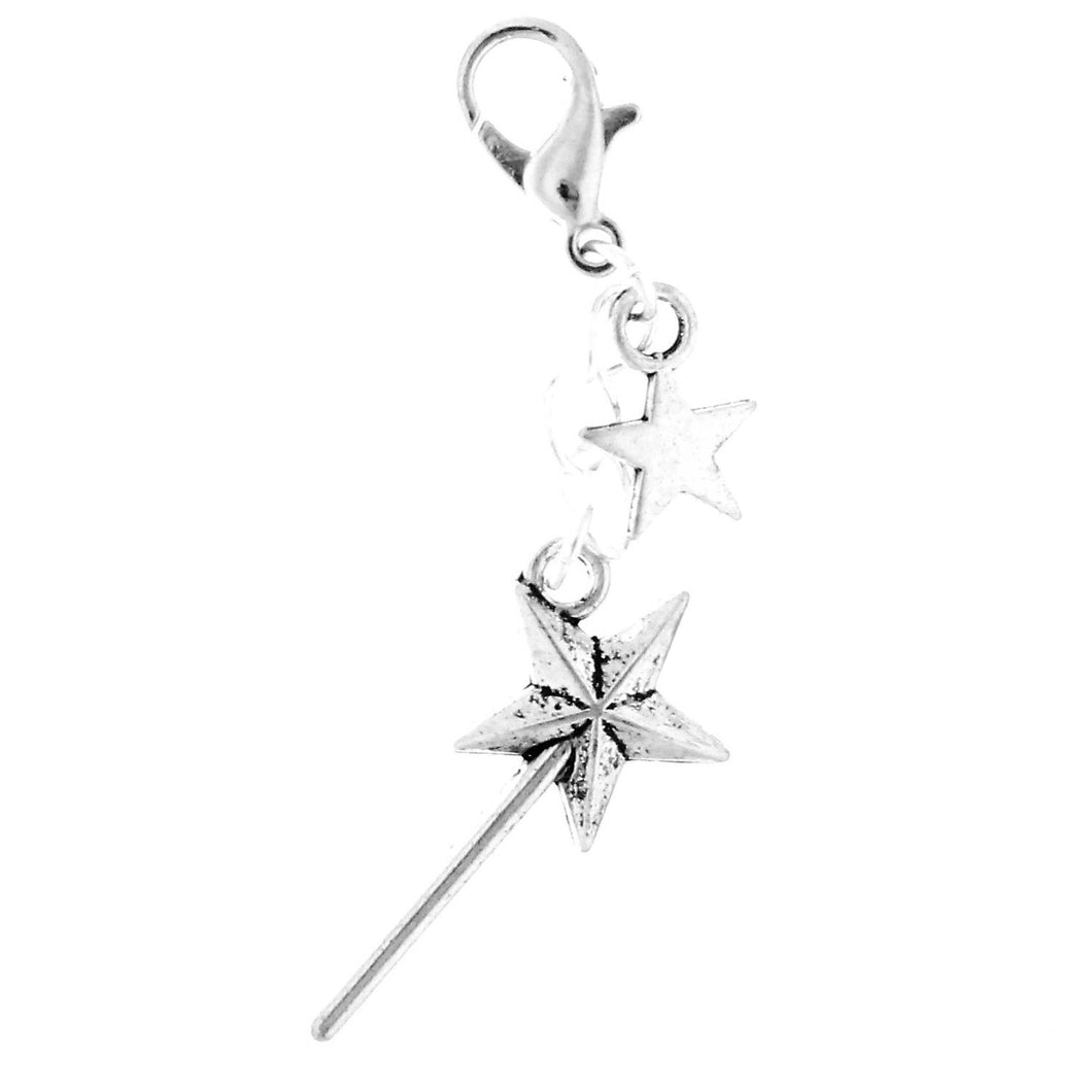 AVBeads Clip-On Charms Wand and Star Charm 50mm x 15mm Silver JWLCC00063