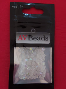 AVBeads Glass Beads Faceted Bicone Beads 4mm White