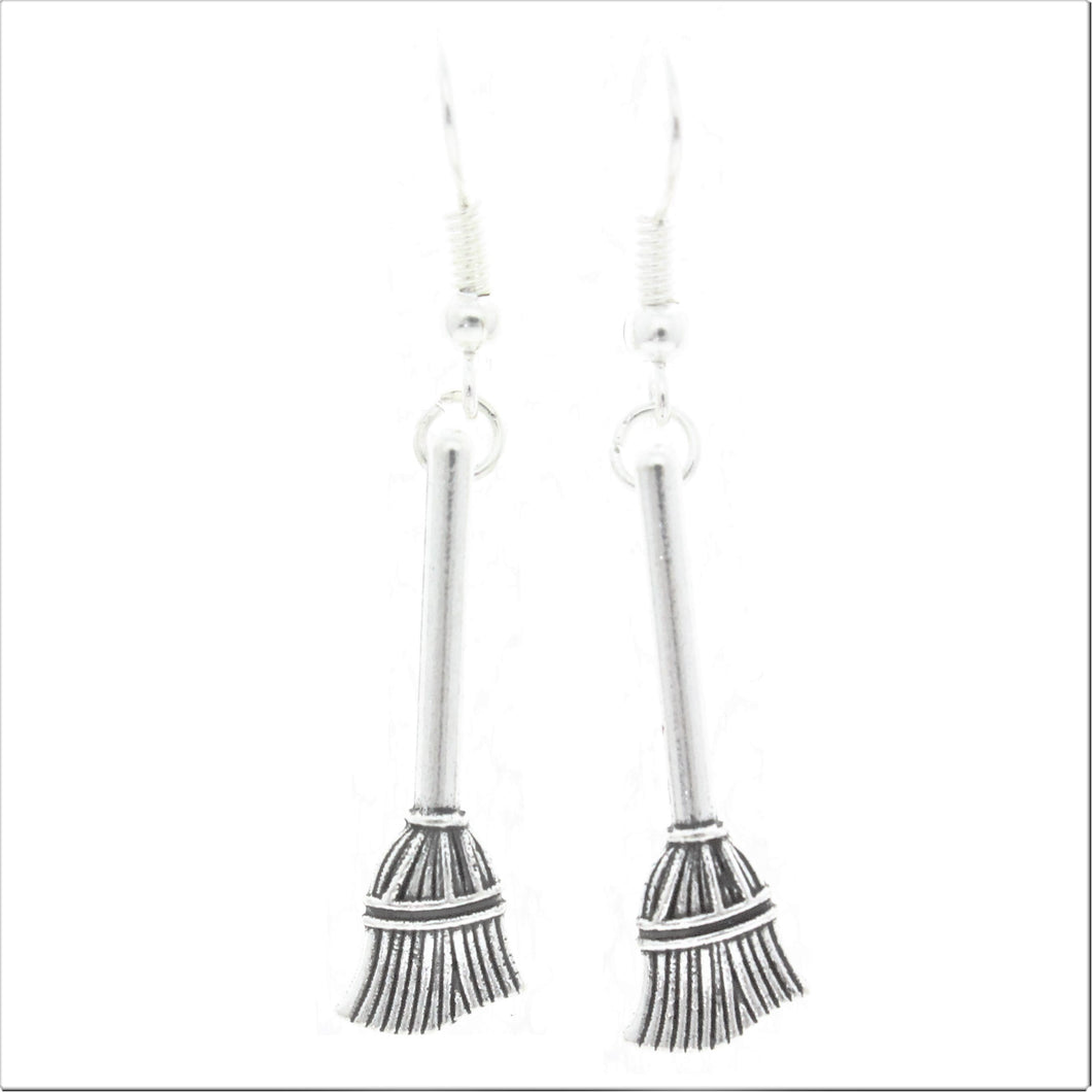 AVBeads Jewelry Charm Earrings Dangle Silver Hook Broom
