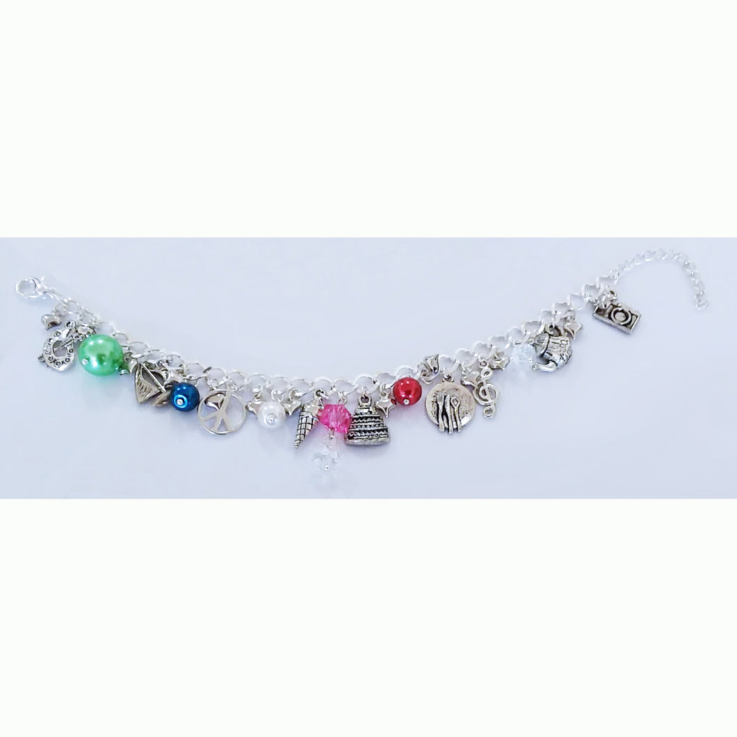 AVBeads Jewelry Charm Bracelet Adventure Silver Chain Link Multicolor Glass JWL-CB-Adventure1001