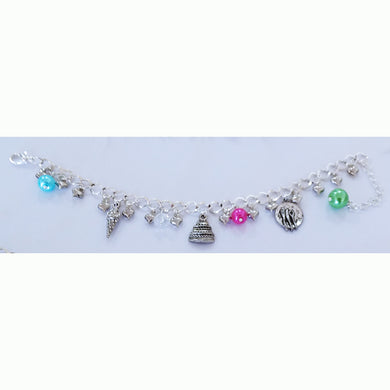 AVBeads Jewelry Charm Bracelet Chef Food Silver Chain Link Multicolor Glass JWL-CB-Chef1001