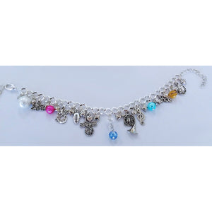 AVBeads Jewelry Charm Bracelet Sporty Silver Chain Link Multicolor Glass JWL-CB-Sporty1002