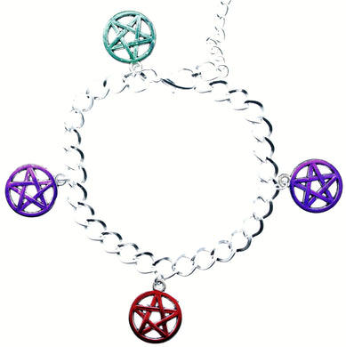 AVBeads Jewelry Charm Bracelet Wicca 4-Corners Pentacles Blue Green Purple Red Silver