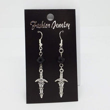 Load image into Gallery viewer, Gothic Halloween Pagan Wicca Wiccan Witch Athame Charm with Silver Plated Metal Ear Hook Dangle Earrings