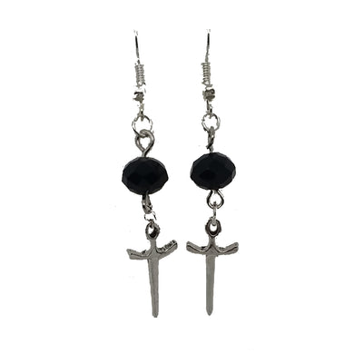 AVBeads Jewelry Charm Earrings Dangle Silver Hook Beaded Black Sword