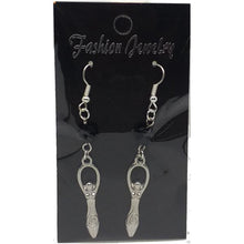 Load image into Gallery viewer, Celestial Celtic Pagan Wicca Wiccan Goddess Charm with Silver Plated Metal Ear Hook Dangle Earrings