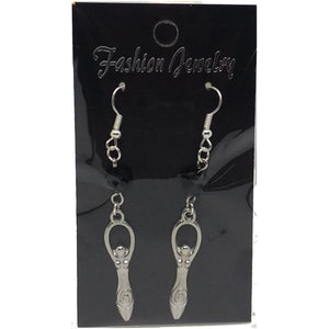 Celestial Celtic Pagan Wicca Wiccan Goddess Charm with Silver Plated Metal Ear Hook Dangle Earrings