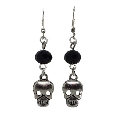 AVBeads Jewelry Charm Earrings Dangle Silver Hook Beaded Black Skull