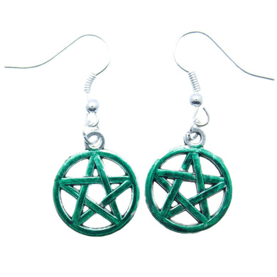 AVBeads Jewelry Charm Earrings Dangle Silver Hook Pentacle Green