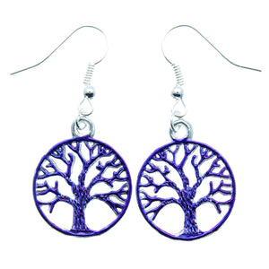 AVBeads Jewelry Charm Earrings Dangle Silver Hook Tree of Life Blue